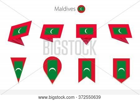 Maldives National Flag Collection, Eight Versions Of Maldives Vector Flags. Vector Illustration.