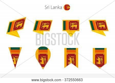 Sri Lanka National Flag Collection, Eight Versions Of Sri Lanka Vector Flags. Vector Illustration.
