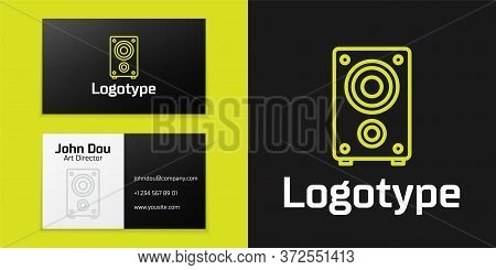 Logotype Line Stereo Speaker Icon Isolated On Black Background. Sound System Speakers. Music Icon. M