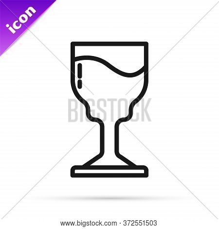 Black Line Wine Glass Icon Isolated On White Background. Wineglass Icon. Goblet Symbol. Glassware Si
