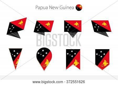 Papua New Guinea National Flag Collection, Eight Versions Of Papua New Guinea Vector Flags. Vector I