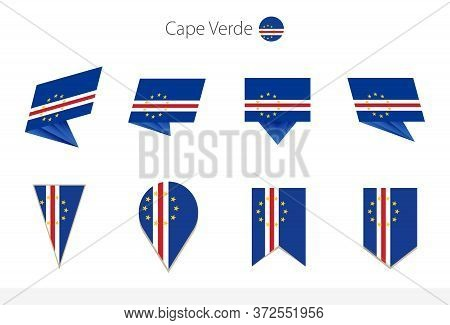 Cape Verde National Flag Collection, Eight Versions Of Cape Verde Vector Flags. Vector Illustration.