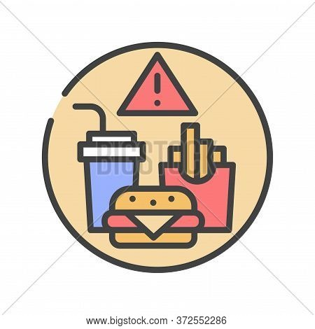 Caution Junk Food Color Line Icon. Cause Diseases Gastric Tract. Sign For Web Page, Mobile App, Butt
