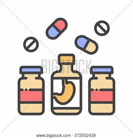 Pharmaceutical Product Color Line Icon. Digestive Tract Diseases. Sign For Web Page, Mobile App, But