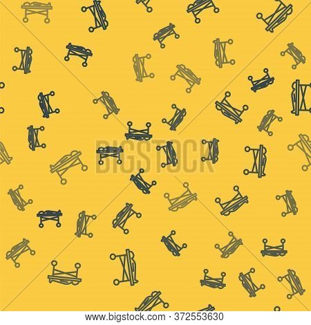 Blue Line Dead Body In The Morgue Icon Isolated Seamless Pattern On Yellow Background. Vector