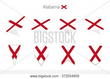 Alabama Us State Flag Collection, Eight Versions Of Alabama Vector Flags. Vector Illustration.