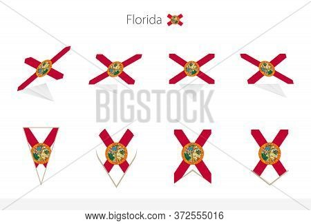 Florida Us State Flag Collection, Eight Versions Of Florida Vector Flags. Vector Illustration.