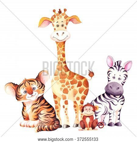 Cute Giraffe, Zebra, Tiger And Monkey Cubs. Beautiful Children Illustration. Watercolor Isolated On