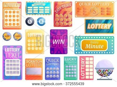 Lottery Icons Set. Cartoon Set Of Lottery Vector Icons For Web Design
