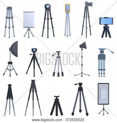 Tripod Icons Set. Cartoon Set Of Tripod Vector Icons For Web Design