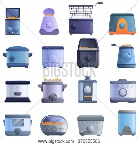 Deep Fryer Icons Set. Cartoon Set Of Deep Fryer Vector Icons For Web Design