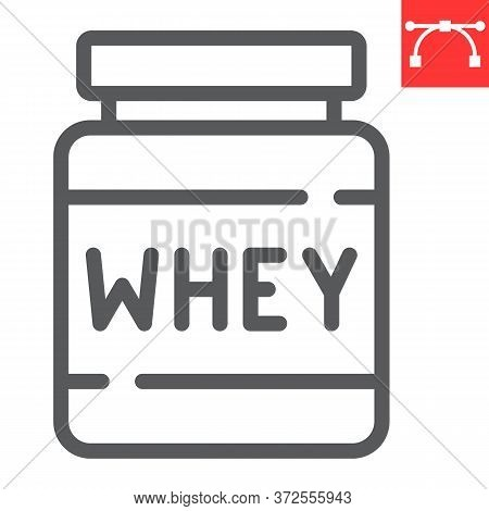 Whey Protein Line Icon, Fitness And Diet, Supplements Sign Vector Graphics, Editable Stroke Linear I