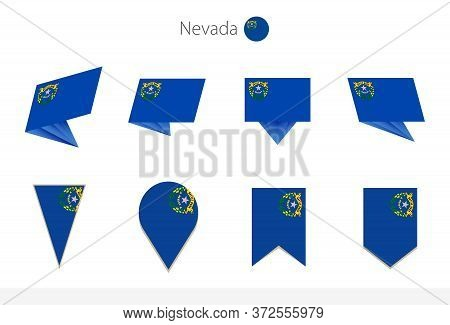 Nevada Us State Flag Collection, Eight Versions Of Nevada Vector Flags. Vector Illustration.