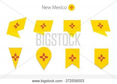 New Mexico Us State Flag Collection, Eight Versions Of New Mexico Vector Flags. Vector Illustration.