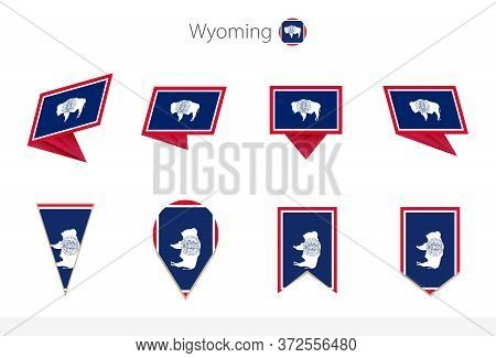 Wyoming Us State Flag Collection, Eight Versions Of Wyoming Vector Flags. Vector Illustration.
