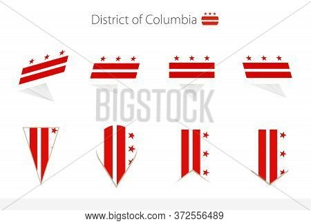 District Of Columbia Flag Collection, Eight Versions Of District Of Columbia Vector Flags. Vector Il