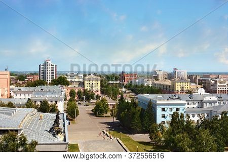 Barnaul. Russia. August 16, 2015. Buildings And Architecture Of The City From A Height. The Capital
