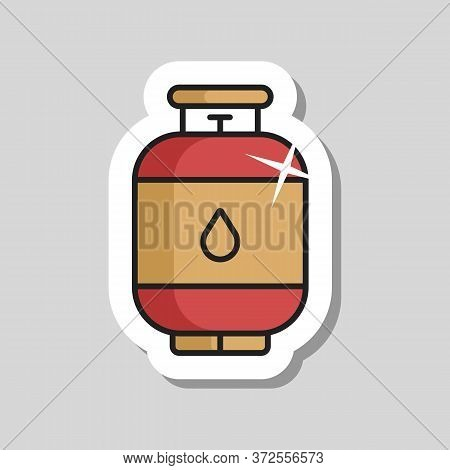 Propane Gas Cylinder Vector Icon. Barbecue And Bbq Grill Sign. Graph Symbol For Cooking Web Site And