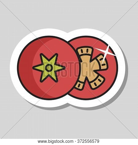 Tomato Vector Icon. Barbecue And Bbq Grill Sign. Vegetable. Graph Symbol For Cooking Web Site And Ap