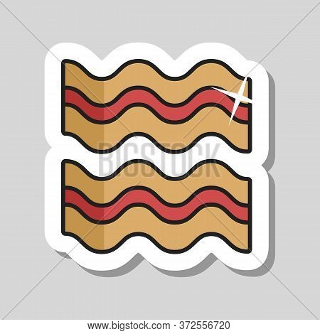 Bacon Strips Vector Icon Food Meat. Barbecue And Bbq Grill Sign. Graph Symbol For Cooking Web Site A