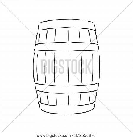 Barrel, Wine, Element For Design, Hand Drawing, Vector. Barrel, Vector Sketch Illustration