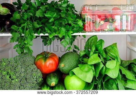 Greens, Fruits And Vegetables In Fridge. Vegan, Vegetarian, Raw Healthy Lifestyle Concept. Horizonta