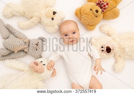 Portrait Of A Child On A White Background With Plush Bear Toys. Baby 6 Months Among Toys. Space For