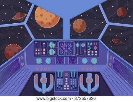 Interior Spacecraft. Futuristic Look From Cockpit Of