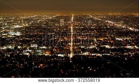 Time Lapse Of Los Angeles By Night - Aerial View - Travel Photography
