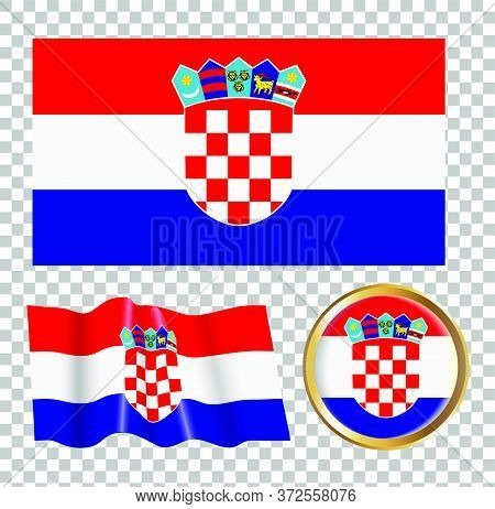 Vector Illustration Of The Croatian Flag. Isolated Image Of A Flag.