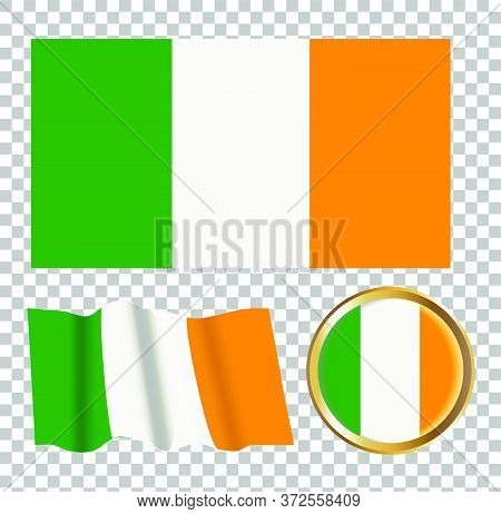 Vector Illustration Of The Flag Of Ireland . Isolated Image Of The Options Of The Flag Of Ireland. E