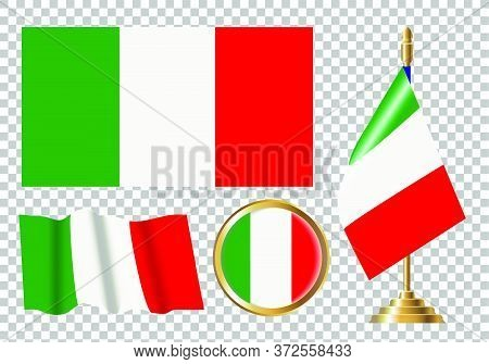 Vector Illustration Of The Flag Of Italy. Set Of Variants Of The Flag Of Italy.