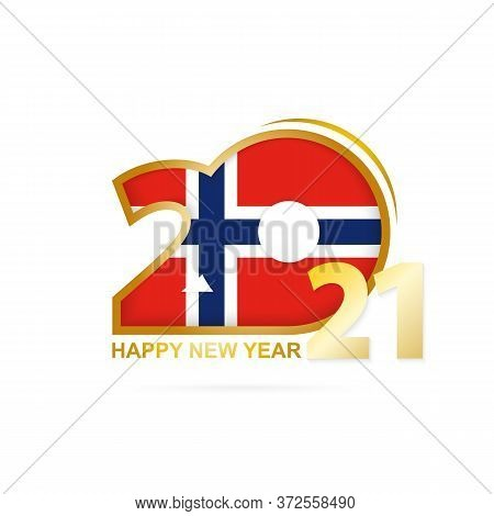 Year 2021 With Norway Flag Pattern. Happy New Year Design. Vector Illustration.