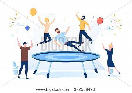 Happy Teens Jumping On Trampoline, Friends Cheering. Young People Having Fun Jump And Bouncing, Spar