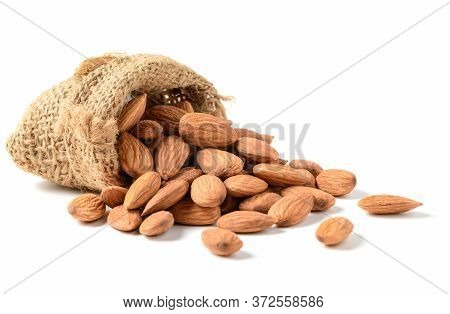 Almonds Nuts With Sack Isolated On White Background, Almonds Are Very Popular Nuts And High Protein
