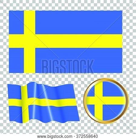 Vector Illustration Of The Flag Of Sweden. Isolated Image Of The Options Of The Flag Of Sweden. Elem