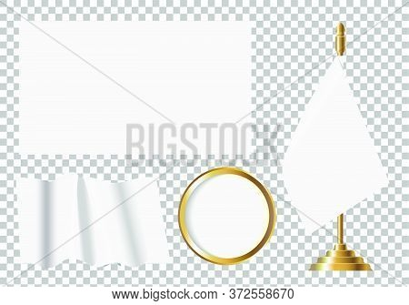 Vector Illustration Of White Flag Options. Isolated Image Of Flags Of Different Shapes.