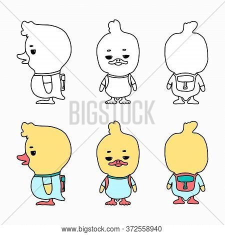 Vector Cartoon Illustration Of A Funny Little Duckling With A Backpack. A Set Of Characters In Diffe