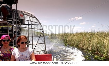 Thrilling Airboat Ride Through The Everglades Near Miami Florida - Miami, Florida April 10, 2016