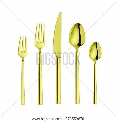 Set Of Fork, Knife And Spoon Isolated On White.golden Spoon Fork And Knife. Vector Realistic Illustr