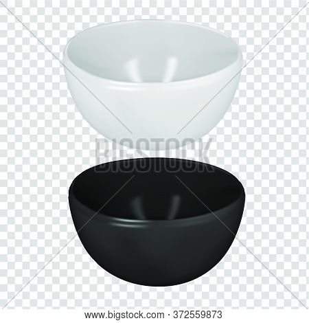 Vector Realistic  Illustration Of Pottery. An Isolated Image Of Porcelain Plates. White And Black De