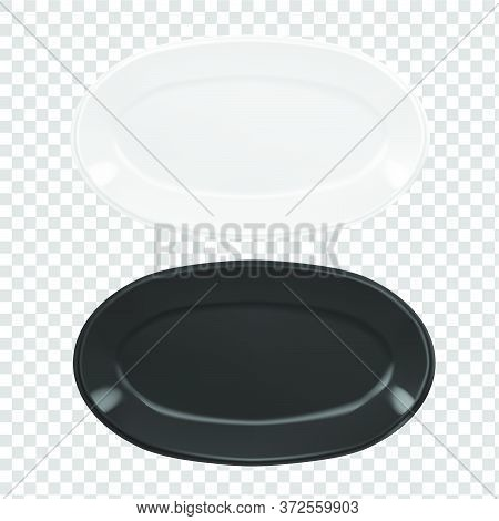 Vector Realistic  Illustration Of Pottery. An Isolated Image Of Porcelain Plates. White And Black Ov