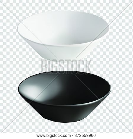 Vector Illustration Of Deep Ceramic Utensils. An Isolated Image Of Round Plates. Black And White Por