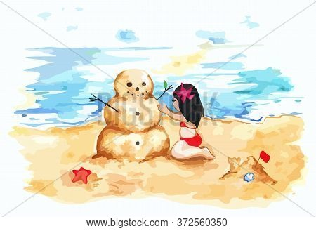 Watercolor Summer Travel Beach Sea Shore Sandman Girl Vector Art Illustration