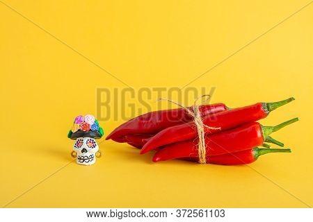 Red Hot Chili Pepper And Catrina La Calavera Garbancera , Dapper Skeleton, Elegant Skull On A Yellow