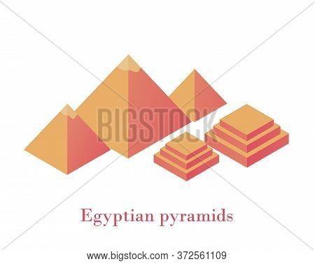 Egyptian Pyramids Isometrics. Ancient Wonder Of World