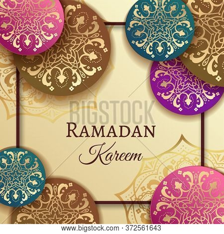 Ramadan Kareem Greeting Background Islamic Vector Design With Islamic Geometric Patterns With Paper