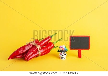 Red Hot Chili Pepper And Catrina La Calavera Garbancera , Dapper Skeleton, Elegant Skull And Small B