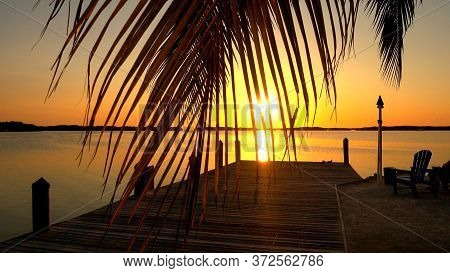 Awesome Bay On The Florida Keys At Sunset- Islamorada, Florida - April 12, 2016