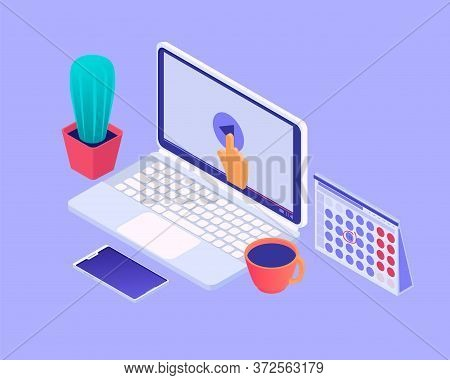 Desktop With Laptop Isometric Illustration. Workplace Open
